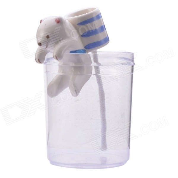 NEJE ZJ0059-12 Cute Polar Bear Style Self-watering Plant Pot Planter w/ Straw / Cup - White + Blue