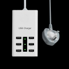 Universal 6-Port USB Charger w/ Switch / Indicator for Cellphone + More (UK Plug/100cm/110~240V)