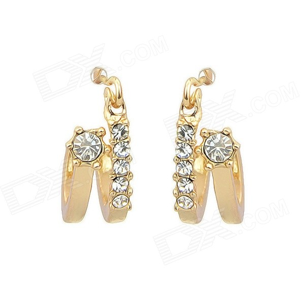 Women's Korean Style Trendy Rhinestone-studded Gold-plated Earrings - Golden (Pair) gold plated banana plug jack connector set golden 3 5mm 10 pairs