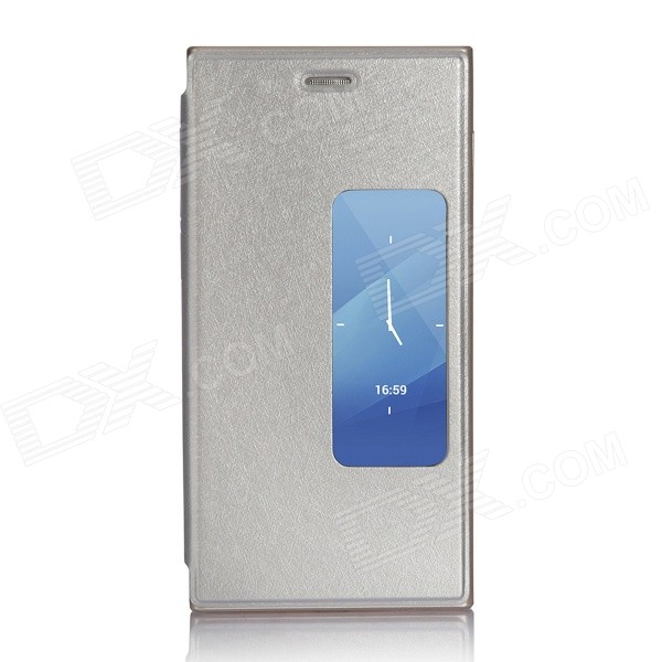 Protective PU Leather Flip Open Case w/ View Window for DOOGEE TURBO2 DG900 - Silver original view window leather case for doogee turbo mini f1