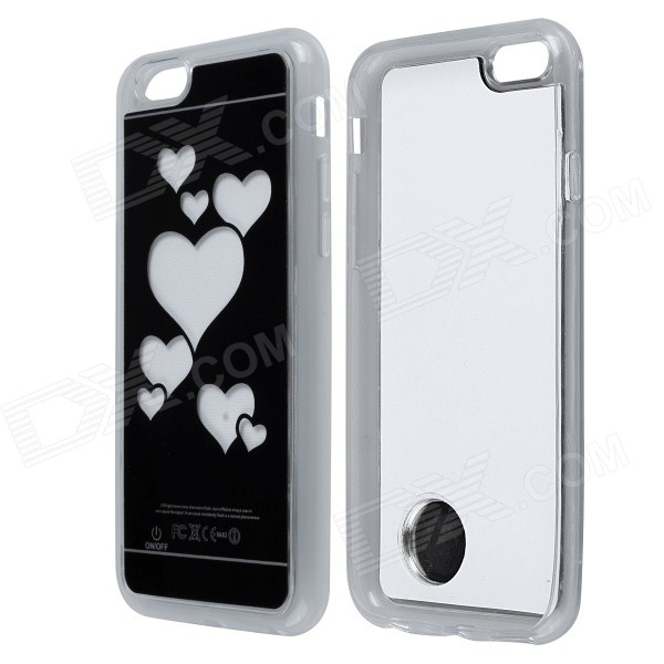 Love Heart Pattern ABS Back Case w/ LED Flash Light for IPHONE 6 4.7 - Black + White love note
