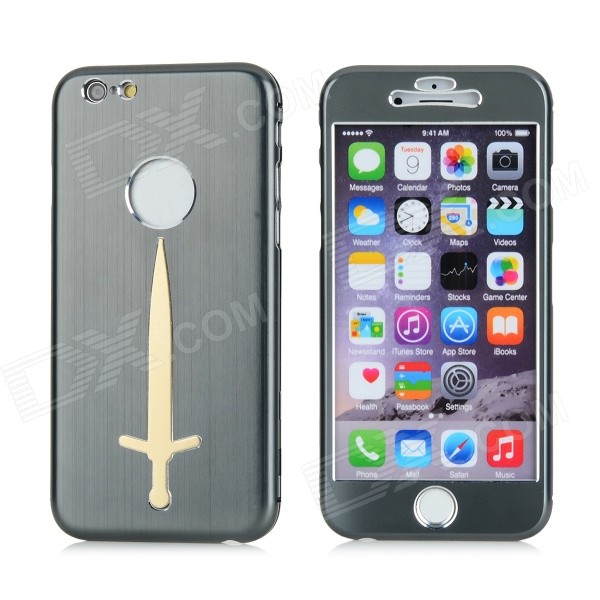 Sword Patterned Titanium Alloy Full Body Case w/ Stand for IPHONE 6 4.7 - Grey mgs01 sword for transformer colour red
