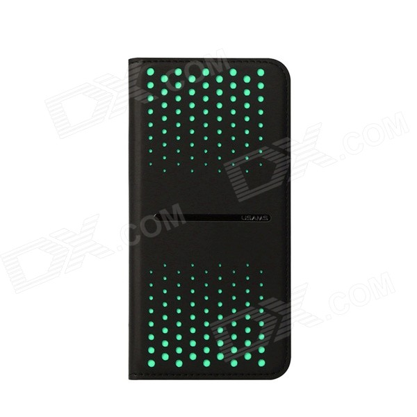USAMS Polka Dot Pattern PU + TPU Case for IPHONE 6 - Green + Black usams fluorescent ipx8 waterproof bag case for iphone 6s 6 4 7 with strap black