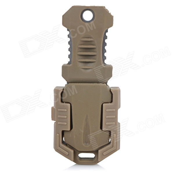 Buckle Pocket Shiv &amp; Adapter for Molle Woven Strap Webbing - SandyForm  ColorEarthyQuantity1 DX.PCM.Model.AttributeModel.UnitMaterialABS + PVC + martensitic stainless steelBest UseFamily &amp; car camping,Mountaineering,Travel,CyclingTypeMultitoolsOther FeaturesOne side is cutting edge and the other side is cutting edge with sawteeth.Packing List1 x Buckle pocket shiv<br>