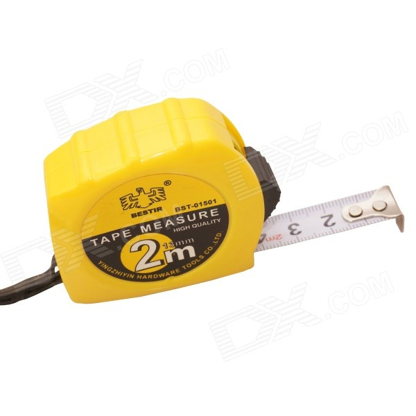 BESTIR BST-01501 2m x 13mm Metric Measuring Tape - Yellow + Black