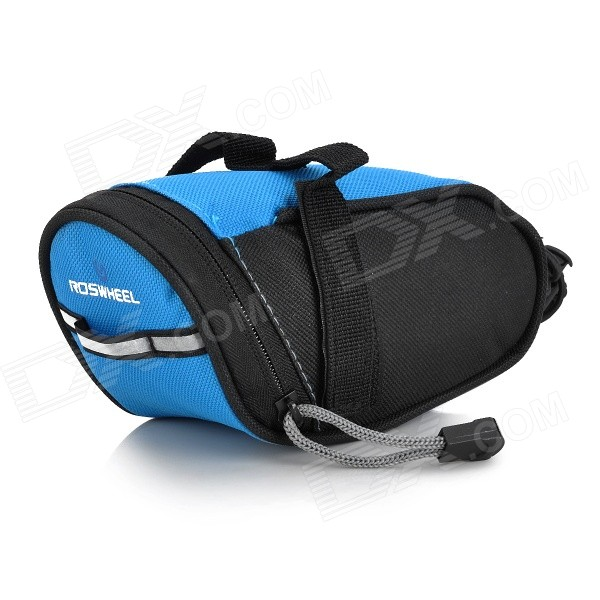 ROSWHEEL 600D Polyester Bicycle Saddle Bag - Black + Blue