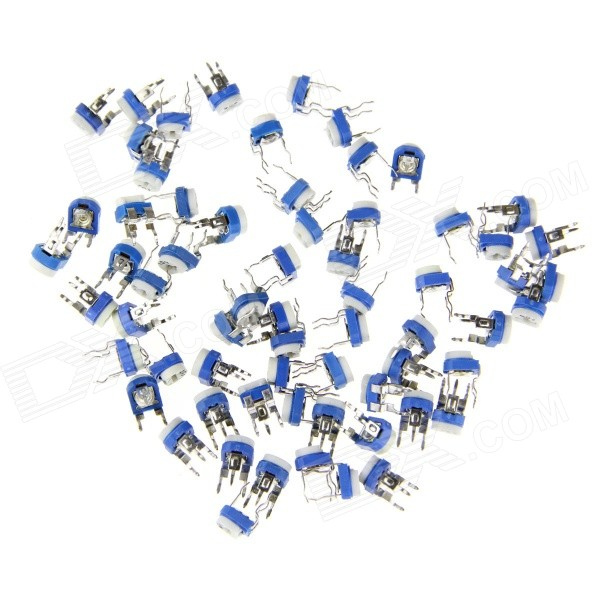 DIY Horizontal Adjustable Potentiometer Resistors Set - White + Blue (13 x 5PCS)