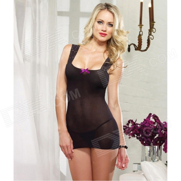 LT78 Sexy Bodydoll &amp; Slips Style Lingerie w/ G-String - Black + Purple - DXSexy Lingerie<br>Color Black + Purple Size Free Size Model LT78 Quantity 1 Set Shade Of Color Black Material Silk + lace Style Bodydoll &amp; Slips Shoulder Width 0 cm Chest Girth 70-90 cm Waist Girth 65-85 cm Total Length 74 cm Hip Girth 80-100 cm Packing List 1 x Dress 1 x G-String<br>