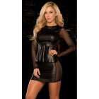 LT106 Ultra Sexy Long Sleeves Top + Minirock Set - Schwarz