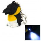 Crow Style 10lm 25000K LED Cool White Light Keychain w/ Sound Effect - Black + White (3 x AG3)