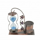 Retro Style Pen Container + Sandglass Decoration - Antique Bronze + Sky Blue