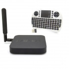 MINIX NEO X8-H Plus Quad-Core Android 4.4.2 Google TV Player + Mini Russian Keyboard (White) - Black