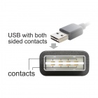CY U2-290-1.0M Reversible 90 Degree Angled USB 2.0 Male to Micro USB 5Pin Male Cable - Black (1m)
