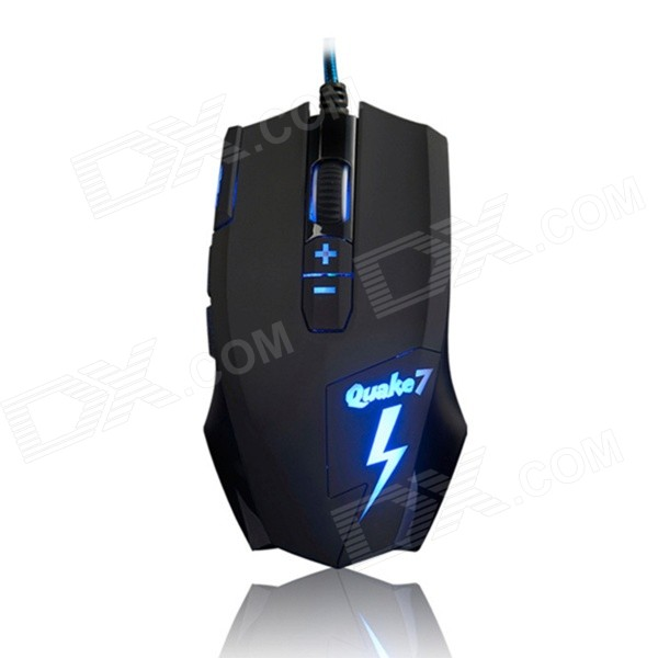 Ajazz Q7 USB Wired 800 / 1200 / 1800 / 2400DPI 8-Button Gaming Mouse - Black (180cm) weyes ms 929 wired 6 key usb 2 0 800 1000 1600 2400dpi optical gaming mouse black green