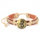 Fashion aries design bracelet en cuir fendu - marron-aries