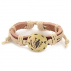 Fashion Scorpio Design Split Leather Bracelet - Brown-Scorpio