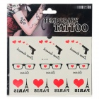 YM-K148 Sexy Glasses w/ Hearts + Gun + Eiffel Tower Pattern Tattoo Paper Sticker - Black + Red