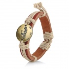 Fashionable Virgo Style Cow Leather Wristband Bracelet - Bronze + Brown