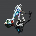 High Heeled Shoe Style Colored Rhinestone + Artificial Pearl Phone / Bag Pendant - White + Blue