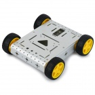 CR0026 4WD Lightweight Aluminum Alloy Mobile Robot Kit for Arduino - Silver + Yellow