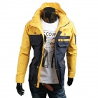 WS715 Herren Herbst / Winter tragen Multi-Tasche Polyester Schlank Jacket - Deep Blue + Yellow (L)