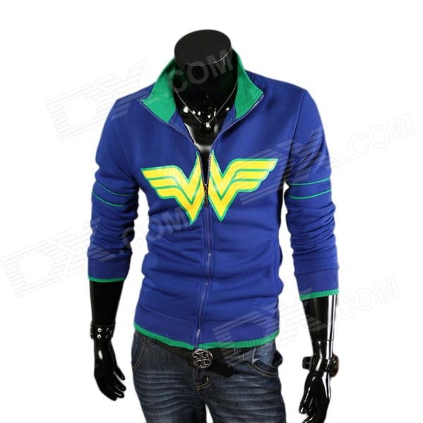 A57 Men's Fashionable Warm Fleece Stand Collar Hoodie Sweatshirt - Blue (Size L)