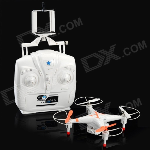 Cheerson CX-30W 2.4GHz 4-CH R/C Quadcopter w/ Gyroscope / 3D Tumble - Orange + WhiteR/C Airplanes&amp;Quadcopters<br>Form  ColorOrange + WhiteModelCX-30WMaterialPlasticQuantity1 DX.PCM.Model.AttributeModel.UnitShade Of ColorOrangeGyroscopeYesChannels Quanlity4 DX.PCM.Model.AttributeModel.UnitFunctionUp,Down,Left,Right,Forward,Backward,Hovering,Sideward flight,Others,4-way 3D tumbleRemote TypeOthers,2.4G high frequencyRemote control frequency2.4GHzRemote Control Range80 DX.PCM.Model.AttributeModel.UnitSuitable Age 8-11 years,12-15 years,Grown upsCameraYesCamera Pixel0.3MPLamp YesBattery TypeLi-ion batteryBattery Capacity700 DX.PCM.Model.AttributeModel.UnitCharging Time90 DX.PCM.Model.AttributeModel.UnitWorking Time6~8 DX.PCM.Model.AttributeModel.UnitRemote Controller Battery TypeAARemote Controller Battery Number4 (not included)Remote Control TypeOthers,2.4G high frequencyModelMode 2 (Left Throttle Hand)Packing List1 x R/C Quadcopter1 x Remote control1 x Screwdriver1 x USB charging cable (60cm)1 x English user manual<br>