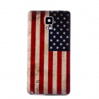 Embossed US Flag Pattern Plastic Battery Back Cover for Samsung Galaxy Note 4 - Red + Blue