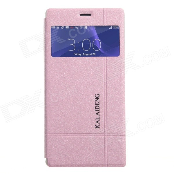 KALAIDENG Protective PU Leather Case Cover w/ Window + Stand for SONY XPERIA Z3 - Pink magnetic stand pu leather case for sony xperia z3 compact tablet case wake up sleep function cover cases screen protectors
