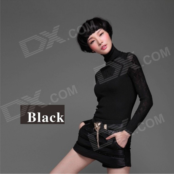 AC50020 Women's Fashionable Slim Knitted High-Necked Cotton Sweater Top - Black