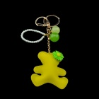 Bear Style Zinc Alloy + Sponge Key Ring - Yellow + Golden
