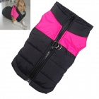 Water-resistant Quilted Padded Warm Winter Coat Jacket for Large Pet Dog - Black + Deep Pink (L-M)
