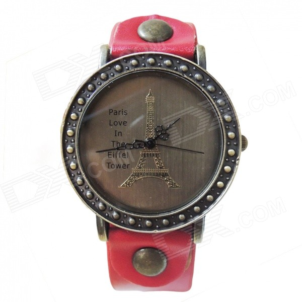 Eiffel Tower Pattern Dial Split Leather Band Analog Quartz Wrist Watch - Red + Bronze (1 x AG4)