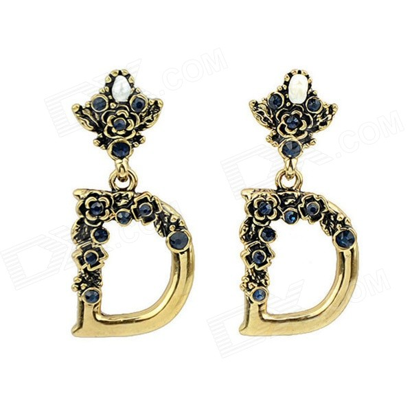 Women's Trendy Rhinestone-studded D-Shaped Pendant Earrings - Gold + Blue (Pair)