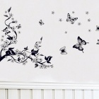 JM8062 Plum and Butterfly Patterned Bedroom Living Room TV Wall Sticker Decal - Black (70 x 50cm)