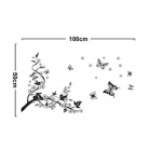 JM8062 Plum and Butterfly Patterned TV Wall Sticker Decal - Black