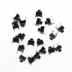 6 x 6 x 6mm Slightly Touch Button Tact Switches - Black (20 PCS)