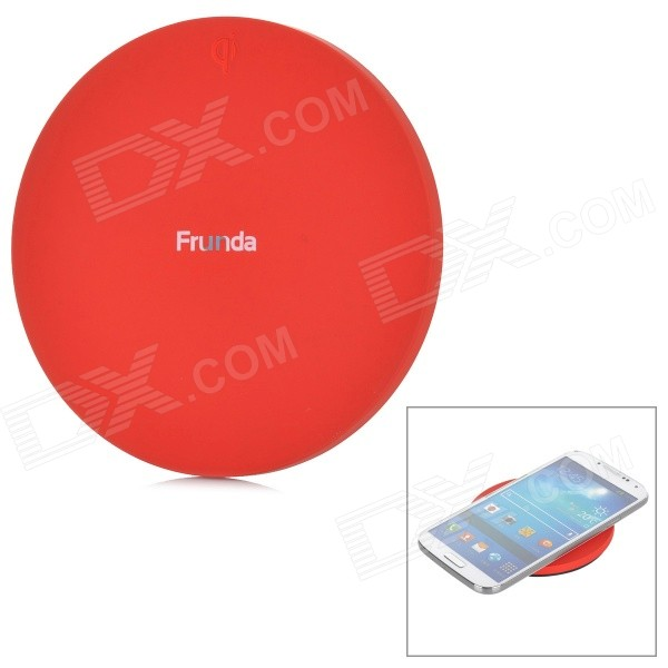 Frunda FCT002 5V 1A Qi Wireless Charger for Samsung i9500 / N9000 + More - Red qi wireless charger charging receiver transparent cover