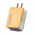 SZWLX wlx-832 Universal Dual-Port USB Power Adapter Charger - Golden + White (US Plug)