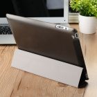 IP10 Protective 4-Folds Flip-Open PU + TPU Smart Case w/ Stand - Black