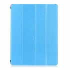 IP08 Protective 4-Folds Flip-Open PU + TPU Smart Case w/ Stand for IPAD 2 / 3 / 4 - Blue