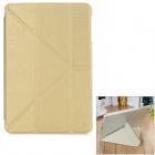 Diamond Pattern Protective PU Case w/ Stand for IPAD MINI 1 / 2 / 3 - Gold + Translucent White