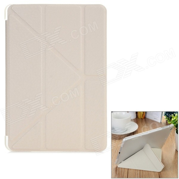 Diamond Pattern Protective PU Case w/ Stand for IPAD MINI 1 / 2 / 3 - White + Translucent White