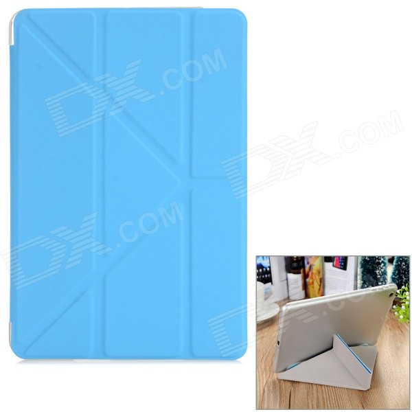 Protective PU + TPU Case w/ Stand for IPAD MINI 1 / 2 / 3 - Blue + Translucent White