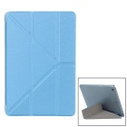 Diamond Pattern Protective PU Case w/ Stand for IPAD MINI 1 / 2 / 3 - Blue + Translucent White