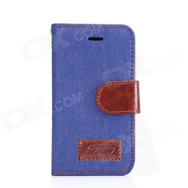 Protective PU Leather + PC Flip Open Case w/ Card Slot for Samsung Galaxy Ace 4 G313 - Denim Blue protective flip open pu case w stand card slots for samsung galaxy s4 active i9295 black