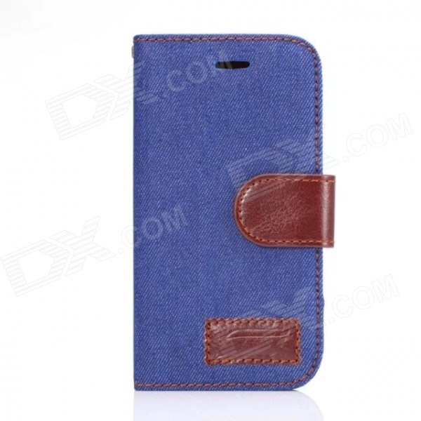 Protective PU Leather + PC Flip Open Case w/ Card Slot for Samsung G357 - Denim Blue + Brown protective flip open pc pu leather case w holder card slot for iphone 5 5s black