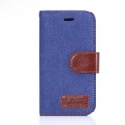 Protective PU Leather + PC Flip Open Case w/ Card Slot for Samsung G357 - Denim Blue + Brown