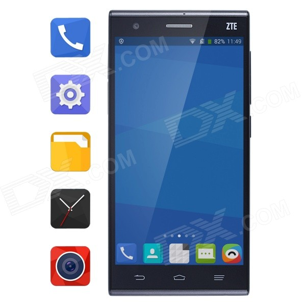 ZTE S2002 Android 4.4 Quad-core 4G Phone w/ 5 IPS, 2GB RAM, 16GB ROM, OTG, GPS - Black huawei ascend p7 android os 4 4 quad core bar phone w 5 0 13mp camera ram 2gb rom 16gb black