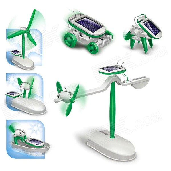 DIY 6-in-1 Solar Powered Educational Assembly Model Toy - White